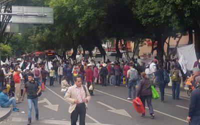 Manifestantes en Av. José María Pino Suárez