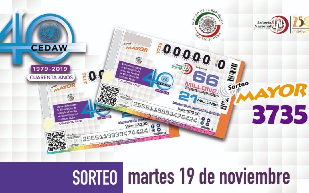 """Emite Lotería """"cachito"""" conmemorativo eliminar discriminación a la mujer"""