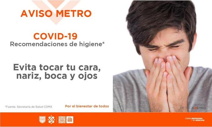 Evita tocarte la boca y rostro después de sujetarte del pasamanos de trenes del Metro
