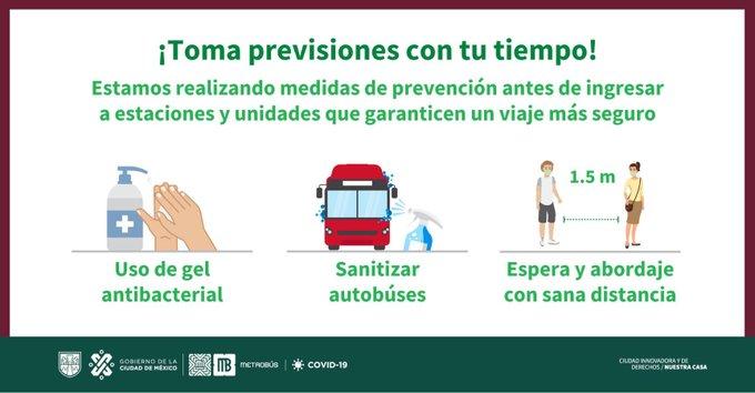 Reitera Metrobús recomendaciones sanitarias al usar el servicio