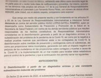 Denuncia panista en SFP a López-Gatell por omisión ante Covid