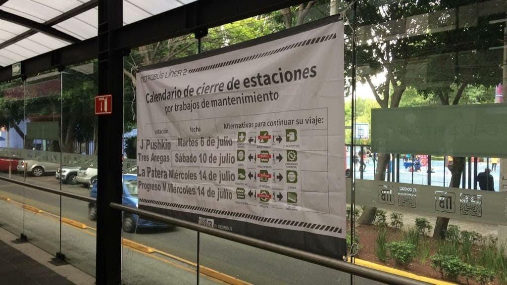 Anuncia Metrobús cierre escalonado de estaciones en Línea 3